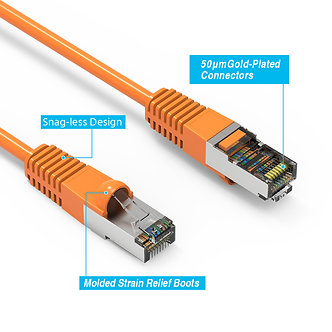 25Ft Cat5E Shielded (FTP) Booted Cable