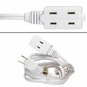 12Ft 3-Outlet Power Extension Cord White