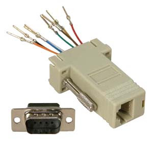 DB9 Male to RJ45 Modular Adapter Ivory