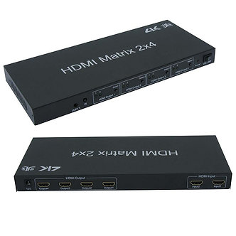 HDMI 2x4 Matrix with IR Remote Control Extension
