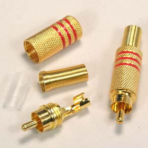 RCA Plug Metal Gold Plated w/Spring
