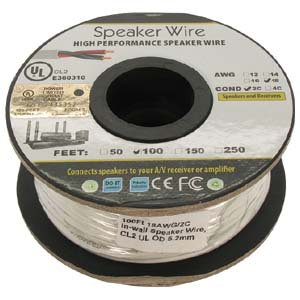100Ft 18AWG/2C In-wall Speaker Wire, OFC CL2 UL