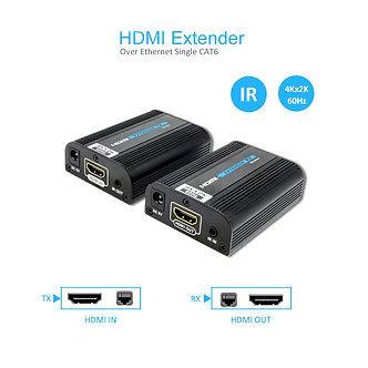 60Meter (197Ft) HDMI Extender Single Cat.6 4K 60Hz IR Extension