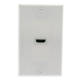 """1 Port HDMI Wall Plate w/4"""" Pigtail Coupler"""
