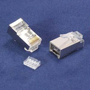 RJ45 Cat.6A Shielded Plug Stranded 50 Micron 3pc type 100pk