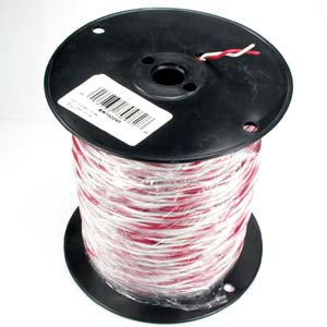 500Ft 18/2 Solid Red/White Bell Bulk Wire