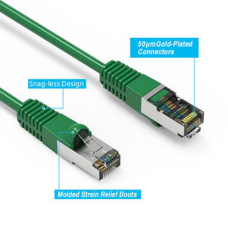 10 PACK 3Ft Cat5E Shielded (FTP) Booted Cable