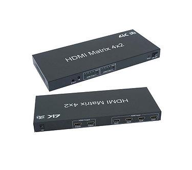 HDMI 4x2 3D Matrix w/IR Remote Control Extension