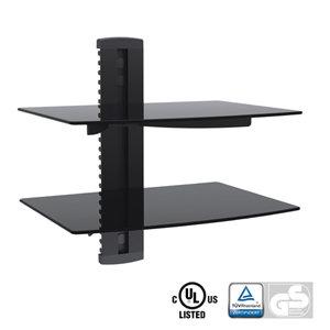 Aluminum/Tempered Glass DVD Mount Double Deck