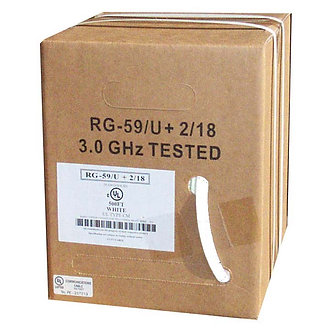 500Ft RG59 w/2x18AWG Power White CMP