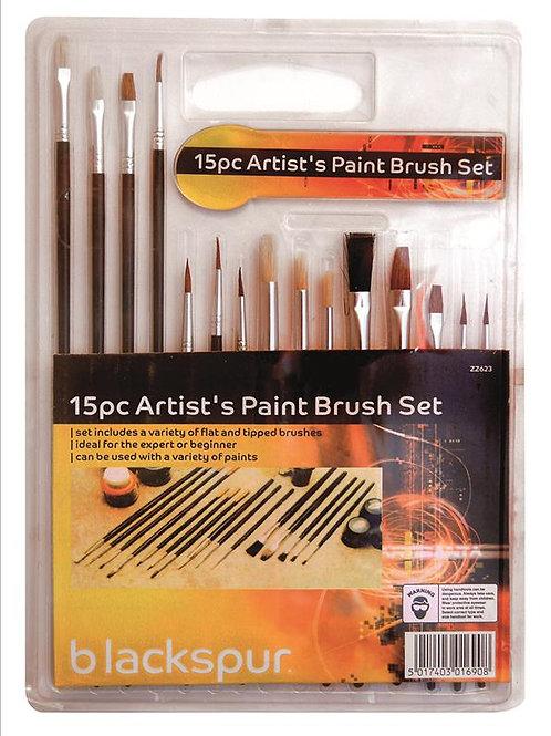 15 Pc Assorted Artist's Brush Set