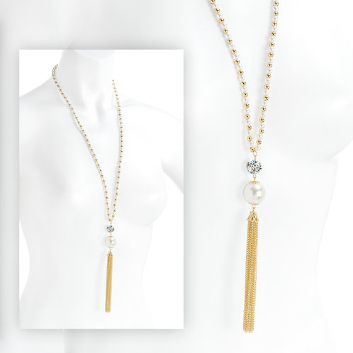 White pearl effect chain tassel necklace