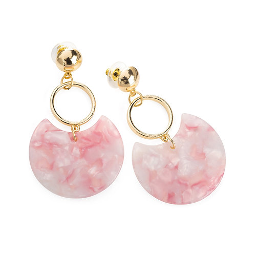 Pink marble effect drop earring.