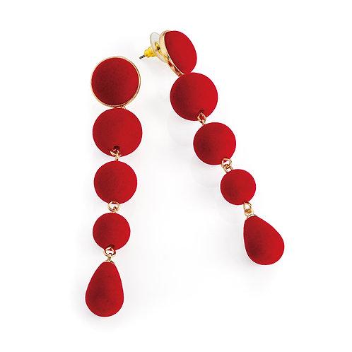 Red velvet look ball drop earring.