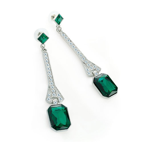 Emerald Green Glass Bead Drop Earring