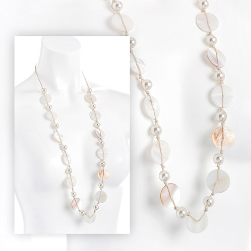 Cream pearl and shell effect cord necklace