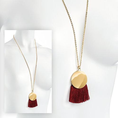Burgundy tassel necklace