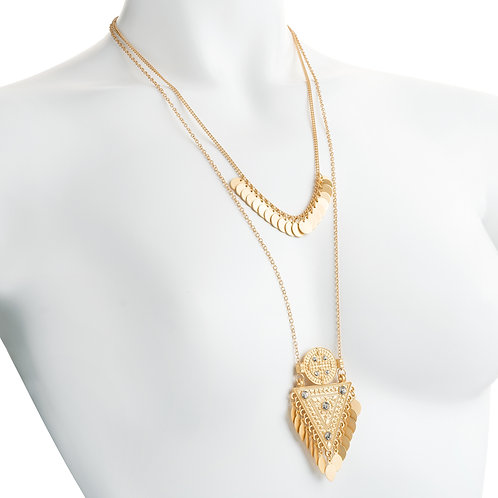 Worn gold colour crystal white marble effect tribal look chain necklace.