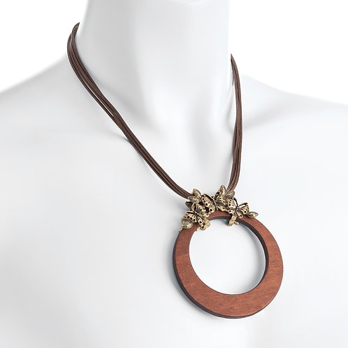 Four row burnished gold colour brown cord wood effect butterfly disc necklace.