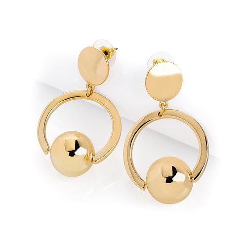 Gold Colour Round Drop Earring