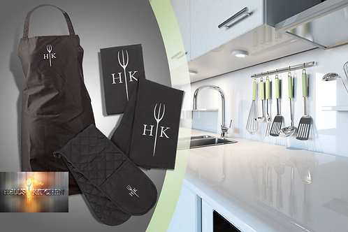 Hell's Kitchen Apron, Kitchen Towel and Double Oven Gloves