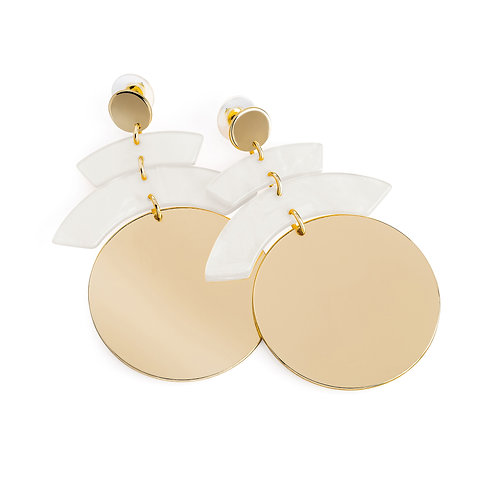 Marble Effect Round Earring