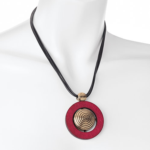 Four row burnished gold colour black cord burgundy disc necklace.