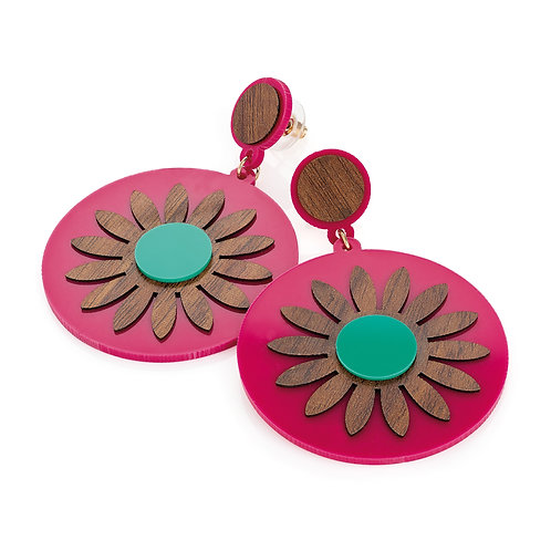 Wood effect fuchsia and turquoise flower design round earring