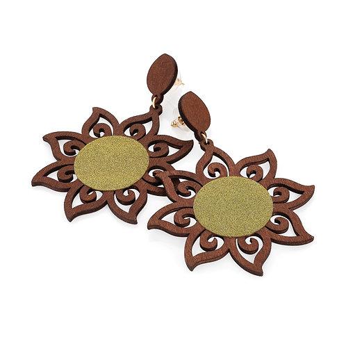 Wood effect glitter sun burst design earring