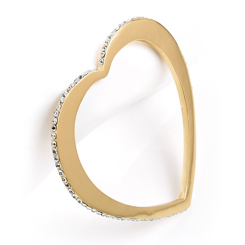 Gold colour crystal heart design bangle