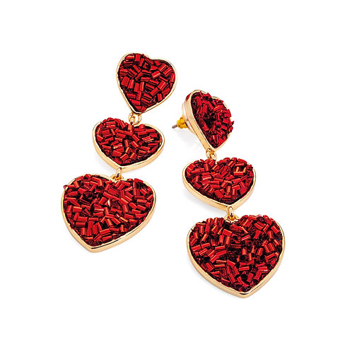 Gold colour red foil look design heart drop earring