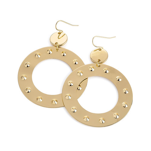 Gold colour stamp look round earring
