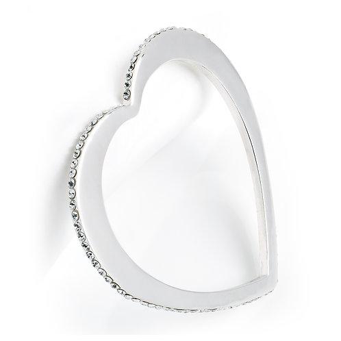 Silver colour crystal heart design bangle