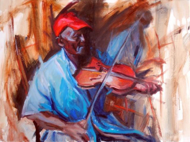 Cerribbean+Fiddler,+Oil+on+canva,+18x24