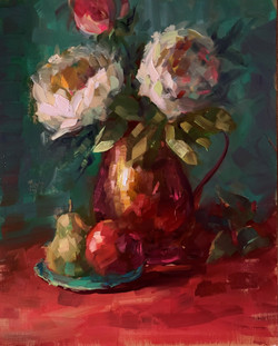 copper and peonies