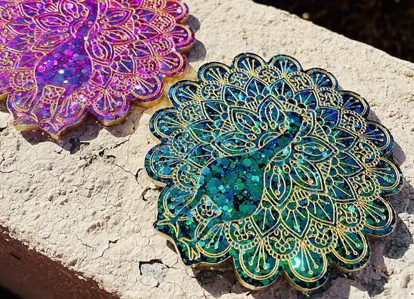 Etched Mandala Peacock Coasters