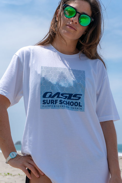 Women's White Oasis Surf School T-Shirt