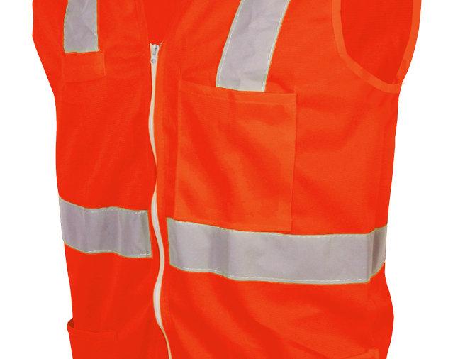 Chaleco anaranjado de alta visibilidad con zipper Jyrsa SR-1020AMCR