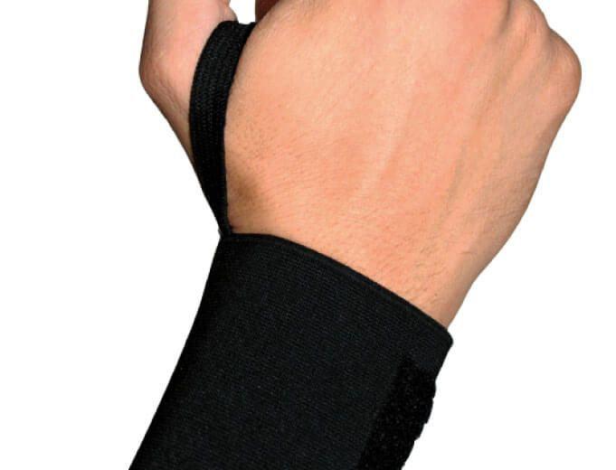 Muñequera elástica negra con dedal