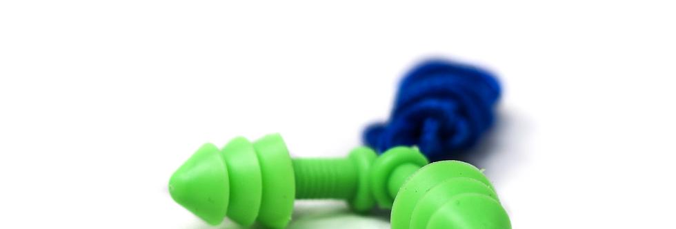 Tapón auditivo reusable con cordón textil