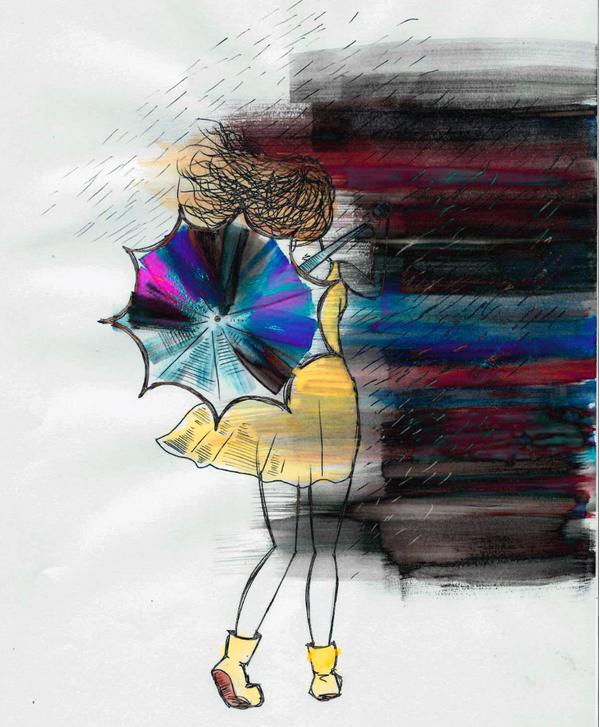 Seule, elle s'en alla sous la pluie