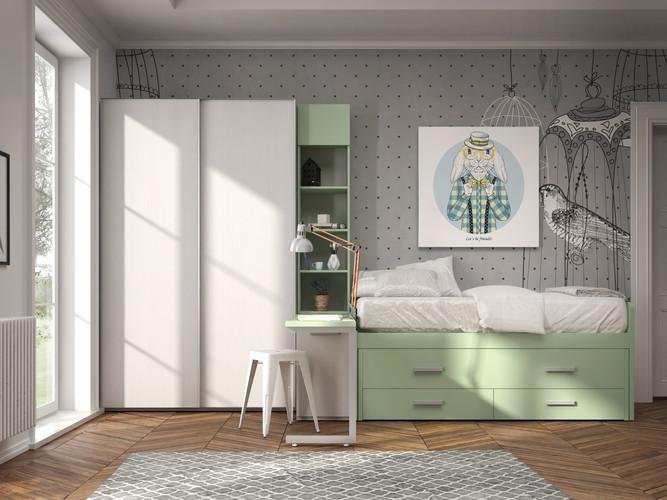 Render 3D de dormitorio juvenil