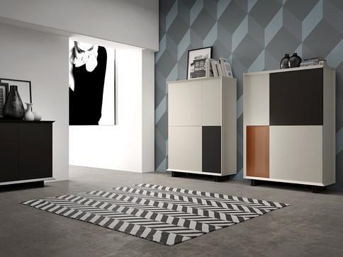 Render 3D de mueble auxiliar