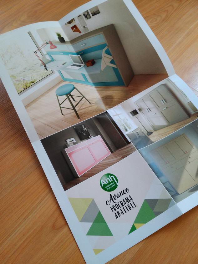 Diseño de flyer desplegable para muebles