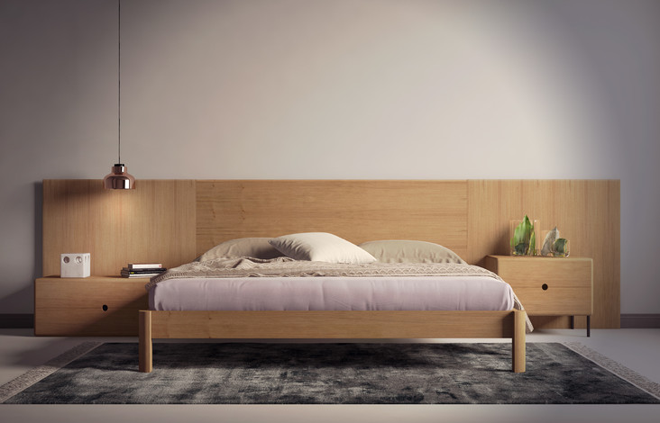 Render 3D de dormitorio