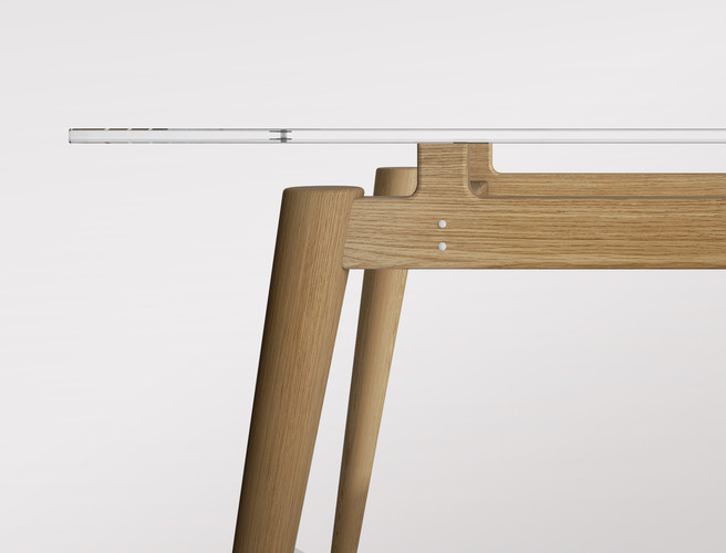 Render 3D de detalle mesa
