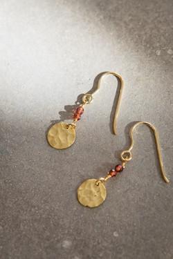 Coin garnet earrings
