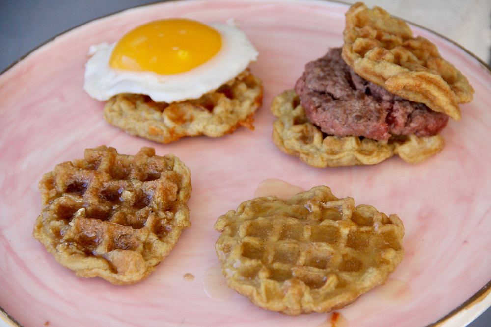 carnivore waffle recipe with a zero carb burger and sunny side up egg