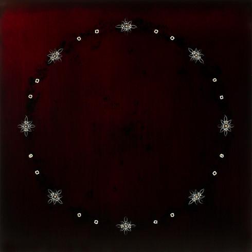 "Circle Dream 78 | 48""x48"" | resin snake ribs and vertebrae, daisy seeds, deer bone on panel | 2020"