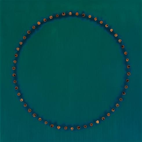 "Circle Dream 70 | 60""x 60"" | resin, mexican buckeye seeds on panel | 2017"
